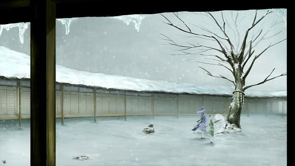 Tags: Anime, Pixiv Id 2263353, Touhou, Saigyouji Yuyuko, Konpaku Youmu, HD Wallpaper, Wallpaper, Facebook Cover, Fanart
