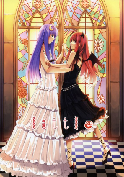 Tags: Anime, Touhou, Koakuma, Patchouli Knowledge, Stained Glass, PatcheKoa