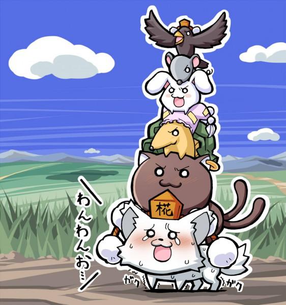 Tags: Anime, Sakino Shingetsu, Touhou, Chen (Cat), Chen, Nazrin (Mouse), Yakumo Ran (Fox), Yakumo Ran, Shameimaru Aya (Crow), Nazrin, Inubashiri Momiji (Wolf), Inaba Tewi, Inaba Tewi (Bunny)