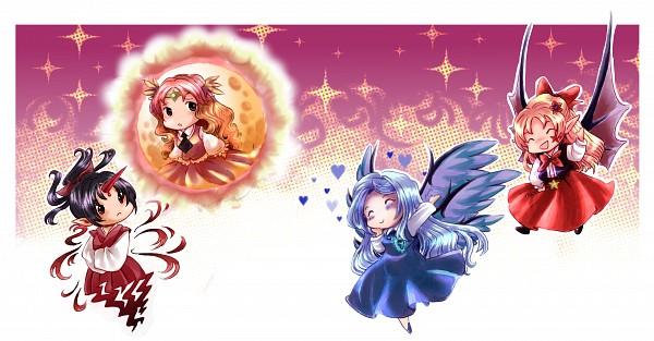 Tags: Anime, Mad-tuna, Touhou, Highly Responsive to Prayers, Sariel, Konngara, Kikuri, Elis, PC-98 Touhou Era, Wallpaper, Fanart