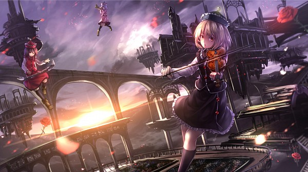 Tags: Anime, ryosios, Touhou, Merlin Prismriver, Lyrica Prismriver, Lunasa Prismriver, Floating Castle, Trumpet, Keyboard (Instrument), Fanart, Facebook Cover, Prismriver Sisters