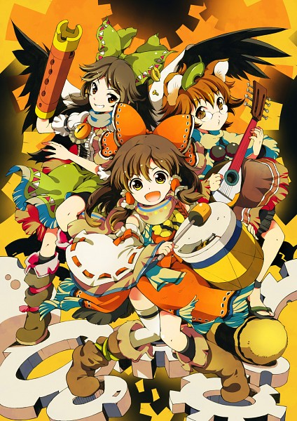 Tags: Anime, Ichizen, Touhou, Reiuji Utsuho, Hakurei Reimu, Futatsuiwa Mamizou, Arm Cannon, Cannon, Puckering Lips, Mobile Wallpaper, Fanart From Pixiv, Fanart, Pixiv