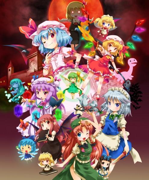 Tags: Anime, Michii Yuuki, Touhou, Izayoi Sakuya, Star Sapphire, Hong Meiling, Remilia Scarlet, Sunny Milk, Rumia, Kirisame Marisa, Koakuma, Flandre Scarlet, Cirno