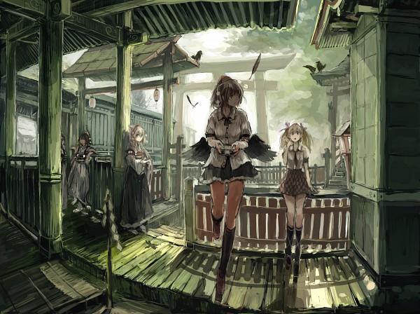 Tags: Anime, Ashiyama Yoshinori, Touhou, Himekaidou Hatate, Shameimaru Aya, Inubashiri Momiji, Black Bird, Fanart, Pixiv, Fanart From Pixiv