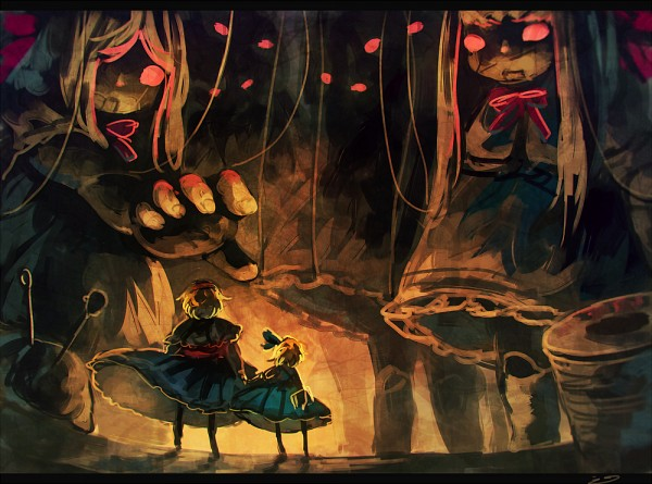 Tags: Anime, Koto Inari, Touhou, Alice Margatroid (Young), Alice Margatroid, Goliath Doll, Shanghai, Puppetmaster, Giant, Twitter, PC-98 Touhou Era, PNG Conversion