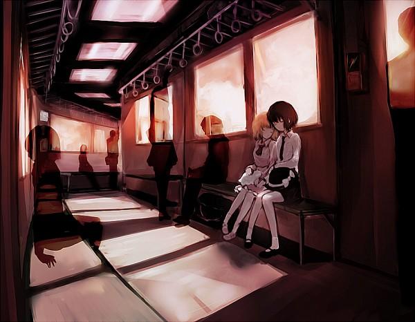 Tags: Anime, Nekoya (dyolf), Touhou, Usami Renko, Maribel Hearn, Train Interior, Fanart From Pixiv, Pixiv, PNG Conversion, Fanart, RenMeri