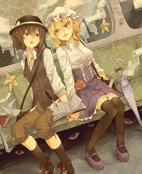 Tags: Anime, Pixiv Id 3058259, Touhou, Usami Renko, Maribel Hearn, Train Interior, Closed Umbrella, Fanart From Pixiv, Pixiv, PNG Conversion, Fanart, RenMeri