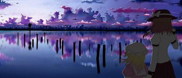 Tags: Anime, Dusk-Dawn, Touhou, Yakumo Yukari, Usami Renko, Maribel Hearn, Gray Headwear, Gap, Portal, Water Reflection, Walking On Water, Gray Hat, Different Reflection