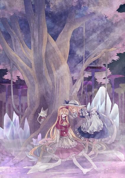 Tags: Anime, Xiaobei, Touhou, Sokrates, Kana Anaberal, Ellen (Touhou), Sitting In Water, Blue Vest, Pixiv, Mobile Wallpaper, Fanart, PC-98 Touhou Era, Fanart From Pixiv