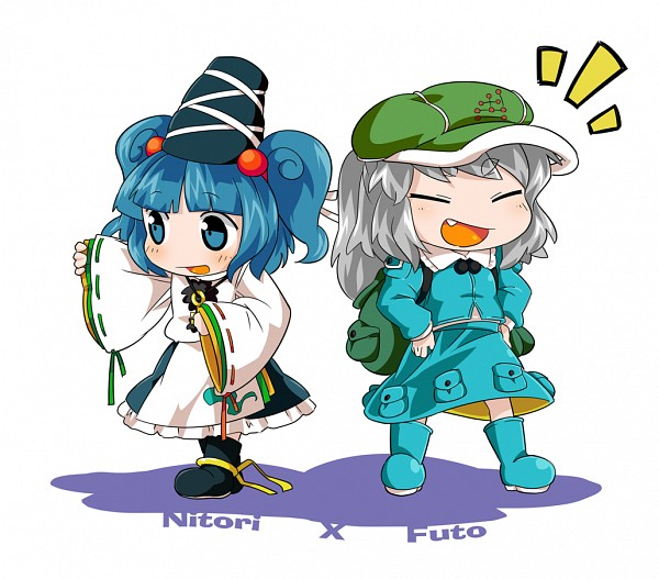 Tags: Anime, Byourou, Touhou, Mononobe no Futo, Kawashiro Nitori, Touhou (Cosplay), Kawashiro Nitori (Cosplay), Mononobe no Futo (Cosplay), PNG Conversion, Fanart, Pixiv, Requested Upload, Fanart From Pixiv