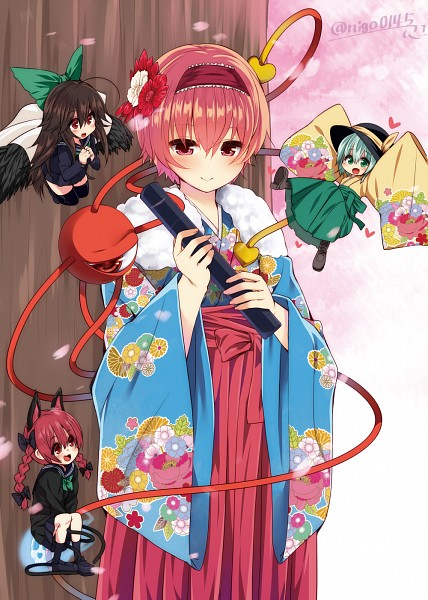 Tags: Anime, Nigou (Aozoragarou), Touhou, Reiuji Utsuho, Komeiji Satori, Komeiji Koishi, Kaenbyou Rin, Pixiv, Fanart, Mobile Wallpaper, Fanart From Pixiv