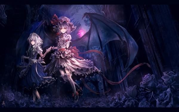Tags: Anime, Archlich, Touhou, Izayoi Sakuya, Remilia Scarlet, 1440x900 Wallpaper, Black Flower, Dark Colors, Wallpaper, Pixiv, Fanart, Fanart From Pixiv