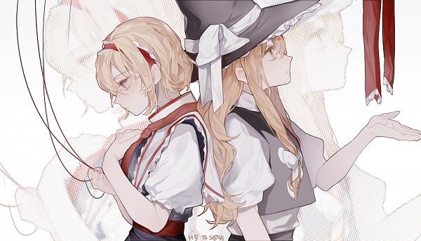 Tags: Anime, Pixiv Id 5477277, Touhou, Alice Margatroid, Kirisame Marisa, Gray Headwear, Gray Hat, Fanart From Pixiv, PNG Conversion, Fanart, Pixiv