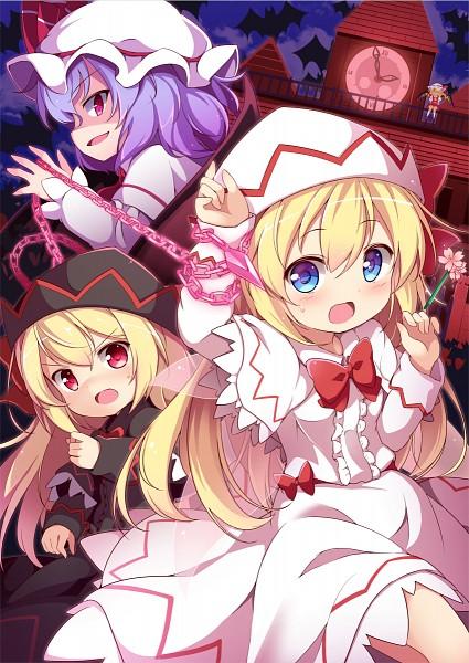 Tags: Anime, Baku Ph, Touhou, Lily White, Flandre Scarlet, Remilia Scarlet, Lily Black, Mansion, Shaded Face, Scarlet Devil Mansion, PNG Conversion, Mobile Wallpaper