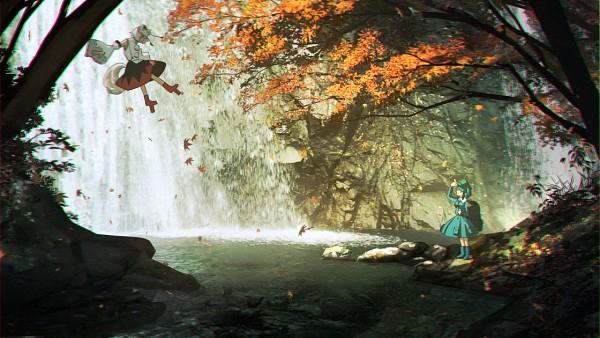Tags: Anime, Tn7135, Touhou, Inubashiri Momiji, Kawashiro Nitori, Waterfall, PNG Conversion, Wallpaper, Pixiv, Fanart, Fanart From Pixiv