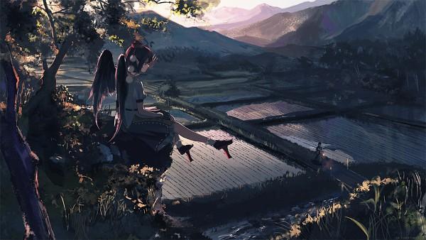 Tags: Anime, saltlaver, Touhou, Shameimaru Aya, Tumblr, Fanart, PNG Conversion, Facebook Cover, Wallpaper