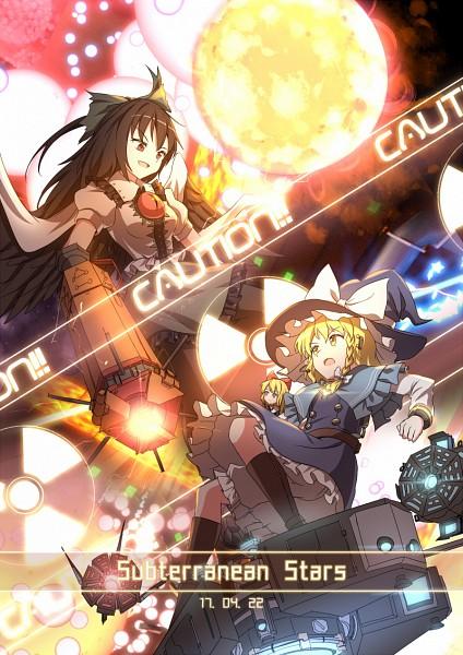 Tags: Anime, minusT, Subterranean Animism, Touhou, Reiuji Utsuho, Kirisame Marisa, Shanghai, Danmaku, Mini-Hakkero, Arm Cannon, Drawers (Victorian), Cannon, White Underwear