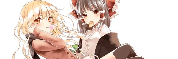 Tags: Anime, Yururi Nano, Touhou, Kirisame Marisa, Hakurei Reimu, Chips, Frilled Bow, Side Braid, Contemporary, Fanart, Twitter, Touhou Project