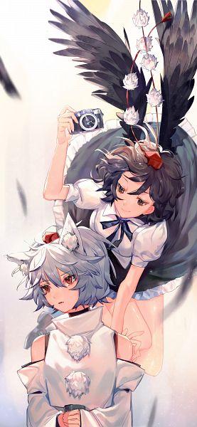 Tags: Anime, Tian (my dear), Touhou, Shameimaru Aya, Inubashiri Momiji, Fanart From Pixiv, Fanart, Pixiv, AyaMomi