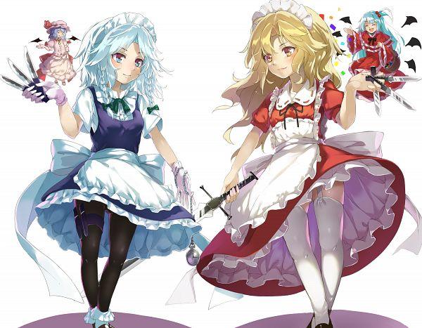 Tags: Anime, Piyo (government159), Touhou, Remilia Scarlet, Yumeko, Shinki, Izayoi Sakuya, Fanart From Pixiv, Pixiv, Fanart, PC-98 Touhou Era