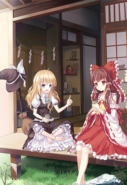 Tags: Anime, Pixiv Id 2937165, Touhou, Kirisame Marisa, Hakurei Reimu, Shimenawa, Fanart, Pixiv, Fanart From Pixiv, ReiMari