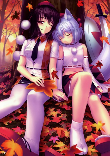 Tags: Anime, Sayori, Eastern Garden 02, Mountain of Faith, Touhou, Inubashiri Momiji, Shameimaru Aya, Under A Tree, Comic Market 78, Mobile Wallpaper, Pixiv, AyaMomi