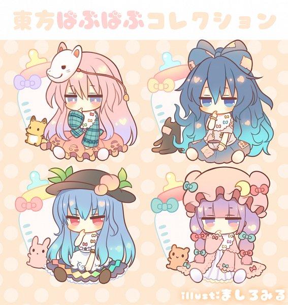 Tags: Anime, Marshmallow Mille, Touhou, Hinanawi Tenshi, Patchouli Knowledge, Yorigami Shion, Hata no Kokoro, Debt, Peach (Fruit), Baby Bottle, Fanart, Pixiv, Fanart From Pixiv