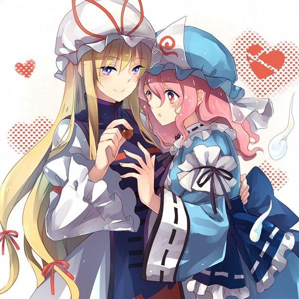 Tags: Anime, Lilith (Lilithchan), Touhou, Saigyouji Yuyuko, Yakumo Yukari, Tabard, Twitter, Fanart, YukaYuyu