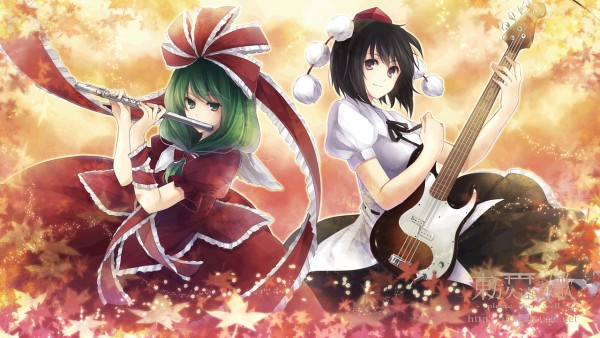 Tags: Anime, Hagiwara Rin, Touhou, Kagiyama Hina, Shameimaru Aya, Bass Guitar, Facebook Cover, Wallpaper, Pixiv