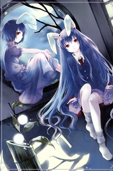 Tags: Anime, Kaedena Akino, Touhou, Inaba Tewi, Reisen Udongein Inaba, Round Window, Scan, Mobile Wallpaper