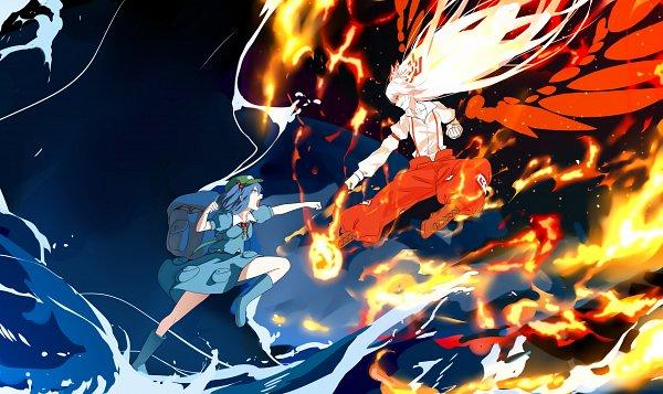 Tags: Anime, Pixiv Id 7439208, Touhou, Kawashiro Nitori, Fujiwara no Mokou, Pixiv