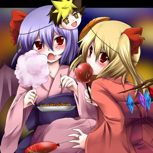 Tags: Anime, Marimo Danshaku, Katekyo Hitman REBORN!, Touhou, Flandre Scarlet, Remilia Scarlet, Takoyaki, Cotton Candy, Candy Apple