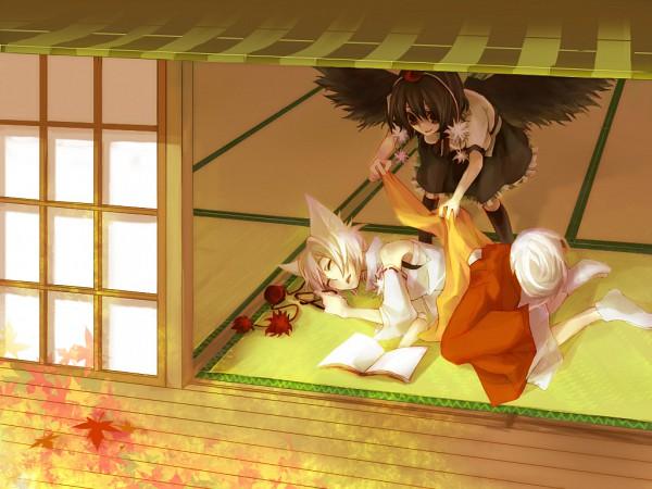 Tags: Anime, Musou Yuchi, Touhou, Shameimaru Aya, Inubashiri Momiji, Japanese House, Tatami, Pixiv, AyaMomi