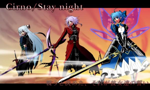 Tags: Anime, Pixiv Id 291423, Touhou, Fujiwara no Mokou, Izayoi Sakuya, Cirno, Archer (Fate/stay night) (Cosplay), Lancer (Fate/stay Night) (Cosplay), Fate/stay night (Parody), Caliburn, Saber (Fate/stay night) (Cosplay)