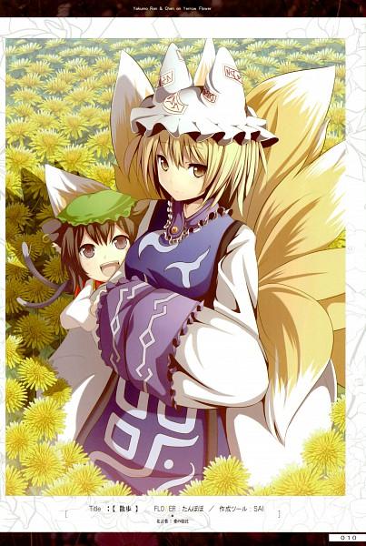 Tags: Anime, Akeboshi Kagayo, Flower (Artbook), Touhou, Chen, Yakumo Ran, Dandelion, Hands In Sleeves, Mobile Wallpaper