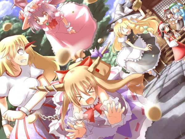 Tags: Anime, Touhou, Remilia Scarlet, Kirisame Marisa, Ibuki Suika, Hakurei Reimu, Hoshiguma Yuugi, Chasing, Setsubun, Throwing, Motion Blur