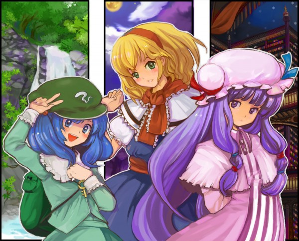 Tags: Anime, Pixiv Id 50318, Touhou, Patchouli Knowledge, Alice Margatroid, Kawashiro Nitori