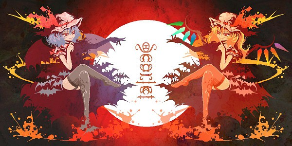Tags: Anime, Pixiv Id 2746649, Touhou, Flandre Scarlet, Remilia Scarlet, Symmetry, Opposites, Pixel Art