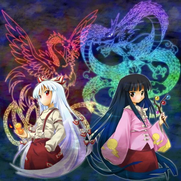 Tags: Anime, Michii Yuuki, Touhou, Houraisan Kaguya, Fujiwara no Mokou, Jeweled Branch of Hourai, Chinese Dragon, Phoenix, Pixiv