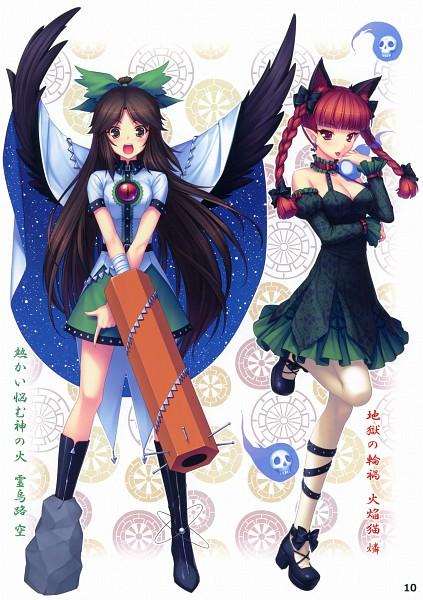 Tags: Anime, Sayori, Eastern Garden 03, Touhou, Kaenbyou Rin, Reiuji Utsuho, Mobile Wallpaper, Comic Market 79, Scan