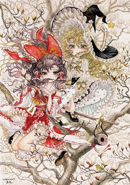 Tags: Anime, Takatora, Touhou, Hakurei Reimu, Kirisame Marisa, Traditional Media