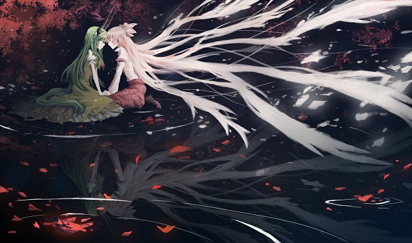 Tags: Anime, Brownque (Artist), Touhou, Fujiwara no Mokou, Ex Keine, Kamishirasawa Keine, Wallpaper, KeineMoko