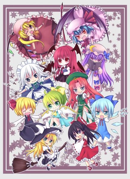 Tags: Anime, The Embodiment of Scarlet Devil, Touhou, Rumia, Kirisame Marisa, Flandre Scarlet, Cirno, Koakuma, Patchouli Knowledge, Hakurei Reimu, Daiyousei, Izayoi Sakuya, Hong Meiling
