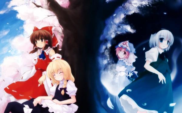 Tags: Anime, Yukitaro, Touhou, Hakurei Reimu, Saigyouji Yuyuko, Konpaku Youmu, Saigyou Ayakashi, Kirisame Marisa, Wallpaper