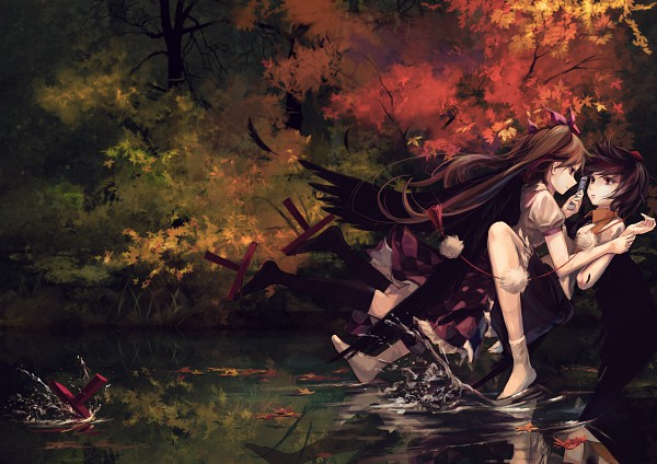 Tags: Anime, Jq, Touhou, Himekaidou Hatate, Shameimaru Aya, AyaHata