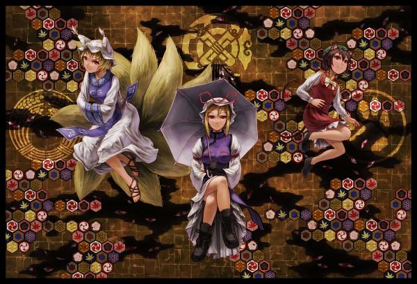 Tags: Anime, Kurione (Zassou), Touhou, Chen, Yakumo Ran, Yakumo Yukari