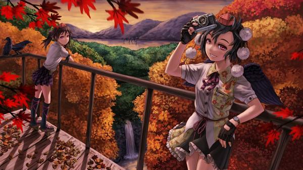 Tags: Anime, Kurione (Zassou), Touhou, Himekaidou Hatate, Shameimaru Aya, Sunrise, Waterfall, Wallpaper