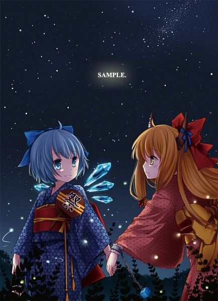 Tags: Anime, Mia0309, Touhou, Ibuki Suika, Cirno, Text: Sample, Horn Ornament, Fanart, Pixiv