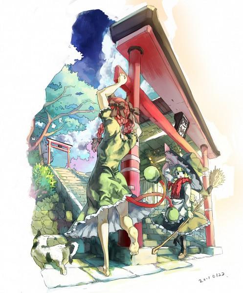 Tags: Anime, Kusanagi Kikoku, Touhou, Kaenbyou Rin, Kirisame Marisa, Fanart, Pixiv