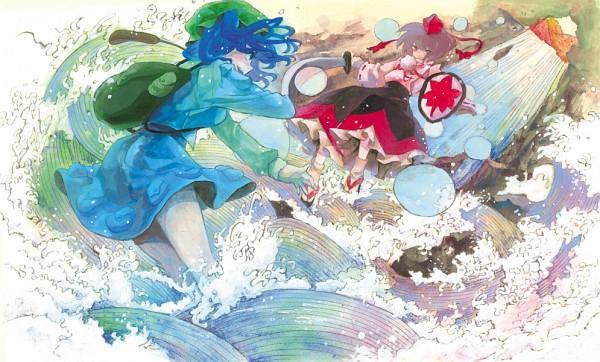 Tags: Anime, Nayuko, Touhou, Kawashiro Nitori, Inubashiri Momiji, Waterfall, Traditional Media, Watercolor